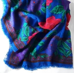 Accessories - Blue floral print scarf with pink & purple flowers